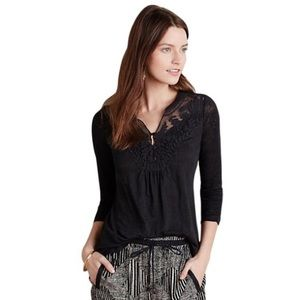Meadow Rue Black Lace Cloaked Linen Blouse